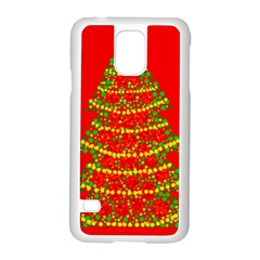 Sparkling Christmas tree - red Samsung Galaxy S5 Case (White)