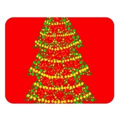 Sparkling Christmas tree - red Double Sided Flano Blanket (Large)