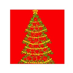 Sparkling Christmas tree - red Small Satin Scarf (Square)
