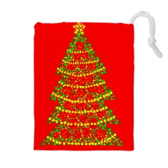 Sparkling Christmas tree - red Drawstring Pouches (Extra Large)