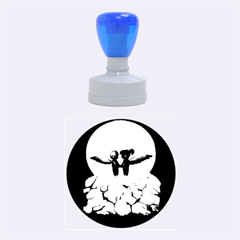 The World Comes Crashing Down Rubber Round Stamps (medium)