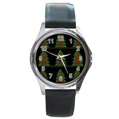 Christmas trees pattern Round Metal Watch