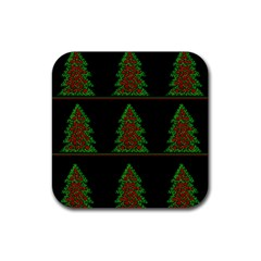 Christmas trees pattern Rubber Coaster (Square)