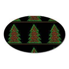 Christmas trees pattern Oval Magnet