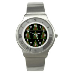 Christmas trees pattern Stainless Steel Watch