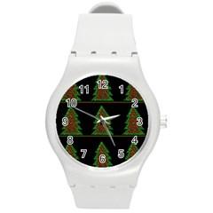 Christmas trees pattern Round Plastic Sport Watch (M)