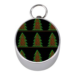 Christmas trees pattern Mini Silver Compasses