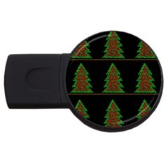 Christmas trees pattern USB Flash Drive Round (2 GB)
