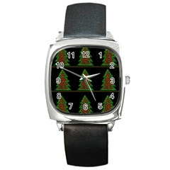Christmas trees pattern Square Metal Watch