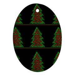 Christmas trees pattern Oval Ornament (Two Sides)