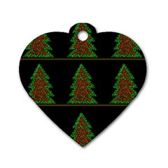 Christmas trees pattern Dog Tag Heart (One Side)