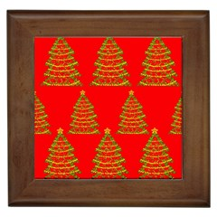 Christmas trees red pattern Framed Tiles