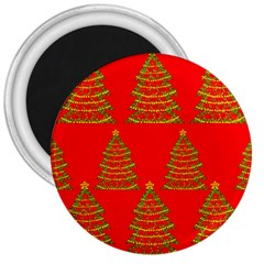Christmas trees red pattern 3  Magnets
