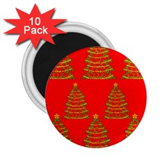 Christmas trees red pattern 2.25  Magnets (10 pack)