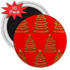 Christmas trees red pattern 3  Magnets (10 pack)