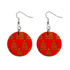 Christmas trees red pattern Mini Button Earrings
