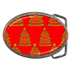 Christmas trees red pattern Belt Buckles