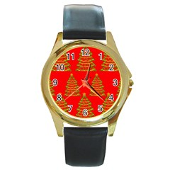 Christmas trees red pattern Round Gold Metal Watch