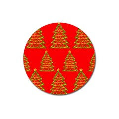 Christmas trees red pattern Magnet 3  (Round)