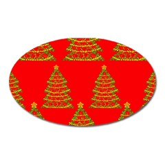 Christmas trees red pattern Oval Magnet