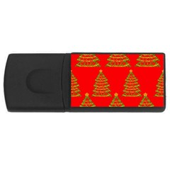 Christmas trees red pattern USB Flash Drive Rectangular (1 GB)