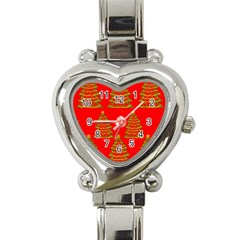 Christmas trees red pattern Heart Italian Charm Watch