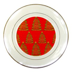 Christmas trees red pattern Porcelain Plates