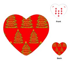 Christmas trees red pattern Playing Cards (Heart)