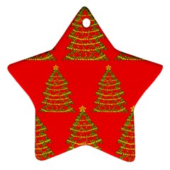 Christmas trees red pattern Star Ornament (Two Sides)