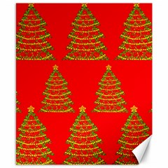 Christmas trees red pattern Canvas 8  x 10