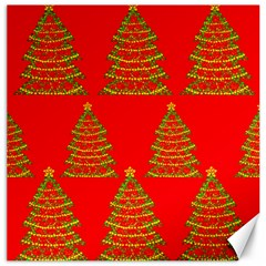 Christmas trees red pattern Canvas 16  x 16