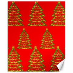 Christmas trees red pattern Canvas 16  x 20