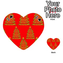 Christmas trees red pattern Playing Cards 54 (Heart)
