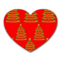 Christmas trees red pattern Heart Mousepads