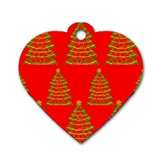 Christmas trees red pattern Dog Tag Heart (Two Sides)