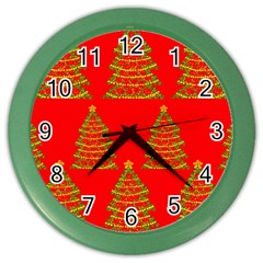 Christmas trees red pattern Color Wall Clocks