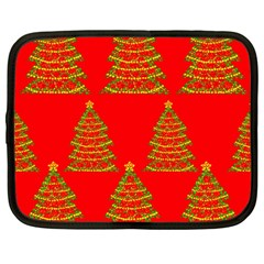 Christmas trees red pattern Netbook Case (Large)