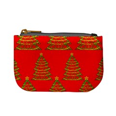 Christmas trees red pattern Mini Coin Purses