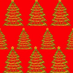 Christmas trees red pattern Magic Photo Cubes