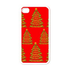 Christmas trees red pattern Apple iPhone 4 Case (White)