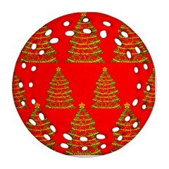 Christmas trees red pattern Round Filigree Ornament (2Side)