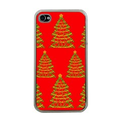 Christmas trees red pattern Apple iPhone 4 Case (Clear)