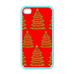 Christmas trees red pattern Apple iPhone 4 Case (Color)