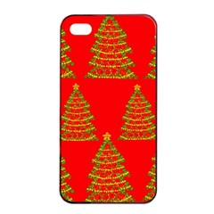 Christmas trees red pattern Apple iPhone 4/4s Seamless Case (Black)