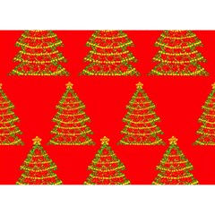 Christmas trees red pattern Birthday Cake 3D Greeting Card (7x5)