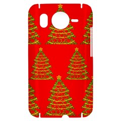 Christmas trees red pattern HTC Desire HD Hardshell Case
