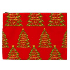 Christmas trees red pattern Cosmetic Bag (XXL)
