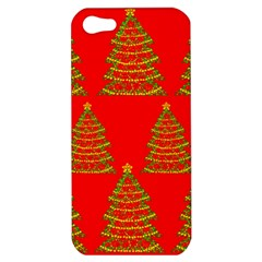 Christmas trees red pattern Apple iPhone 5 Hardshell Case