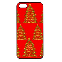 Christmas trees red pattern Apple iPhone 5 Seamless Case (Black)