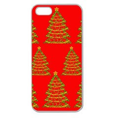 Christmas trees red pattern Apple Seamless iPhone 5 Case (Clear)